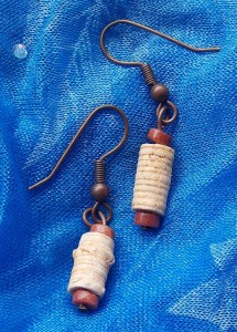 Naturally hollow Oklahoma Crinoid Segments in Copper and Gold Stone.