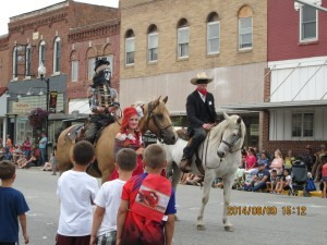 Dan & Colada in the Chatfield Western Days parade, 2014 as the Johnny Depp version of the Lone Ranger.