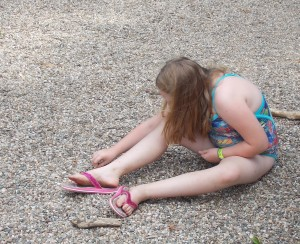 looking for fossils at playground