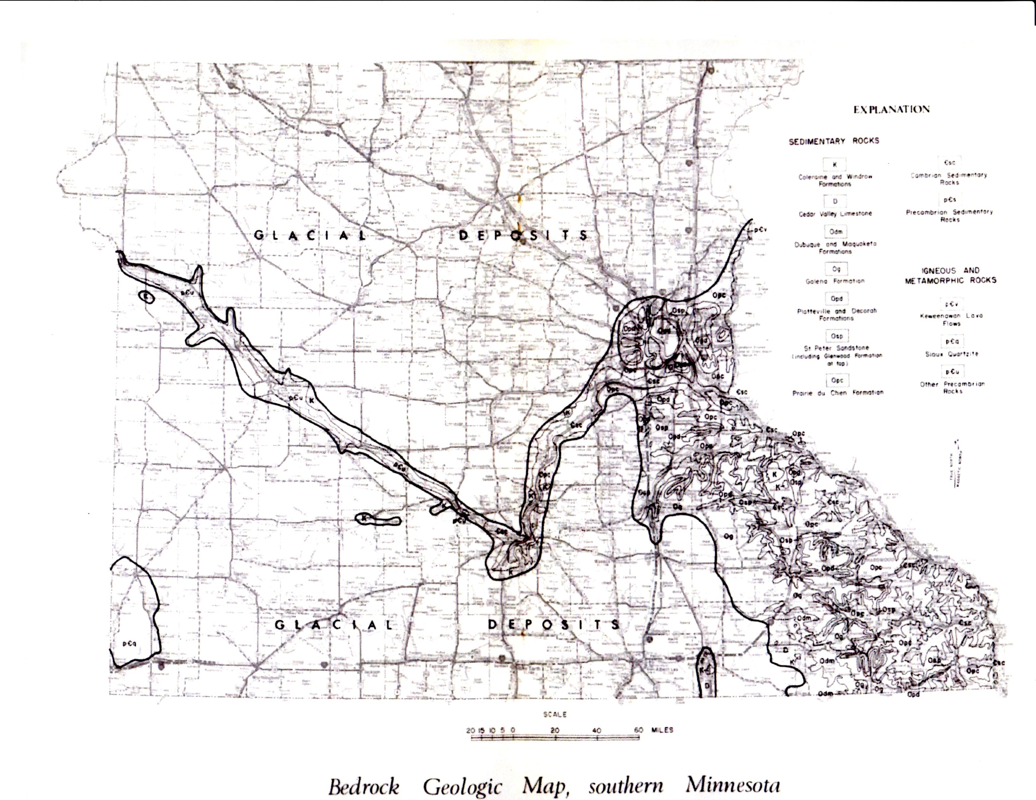 Southern Minnesota Bedrock Map BLUFF COUNTRY FOSSILS
