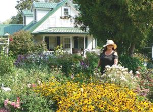 Bev in garden